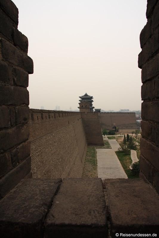 Pingyao - Blick vom Stadttor auf Stadtmauer