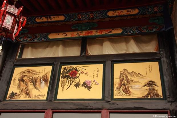 Pingyao - Kalligraphie unter dem Hausdach