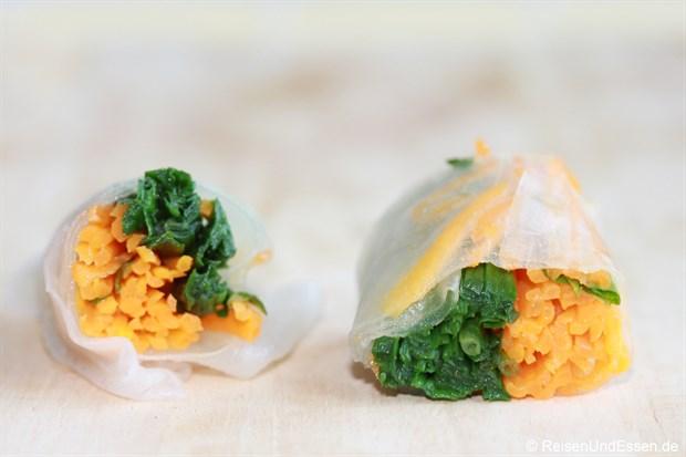 Vietnamesische Frühlingsrolle - Bärlauch- und Karotten-Füllung