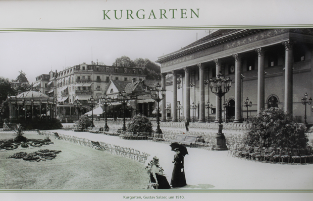Historische Aufnahme vom Kurgarten und dem Hotel Messmer