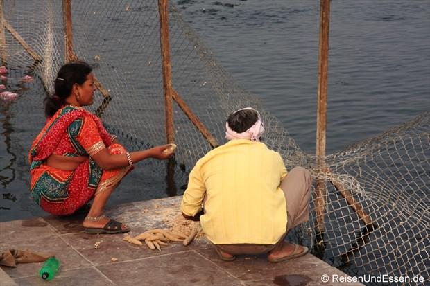 Fische Füttern am Man Sagar