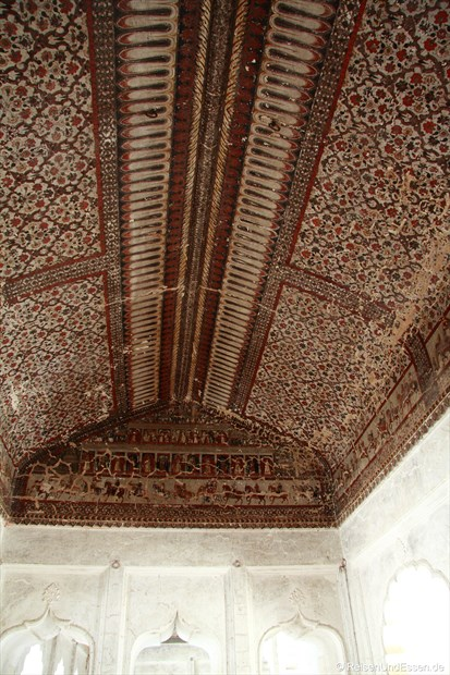 Deckengemälde im Stadtpalast (Raj Mahal) in Orchha