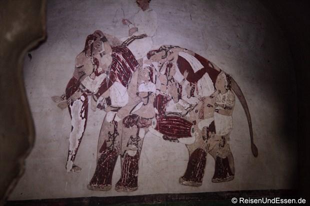 Wandgemälde im Stadtpalast (Raj Mahal) in Orchha