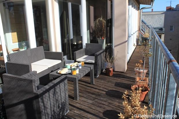 Terrasse unserer Ferienwohnung in Berlin