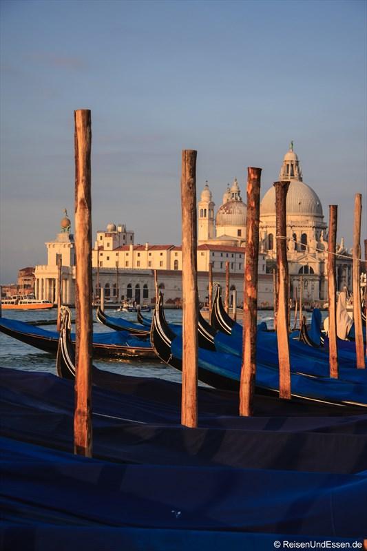 Gondeln in Venedig im frühen Sonnenlicht