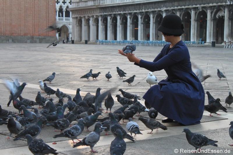 Tauben füttern auf dem Markusplatz