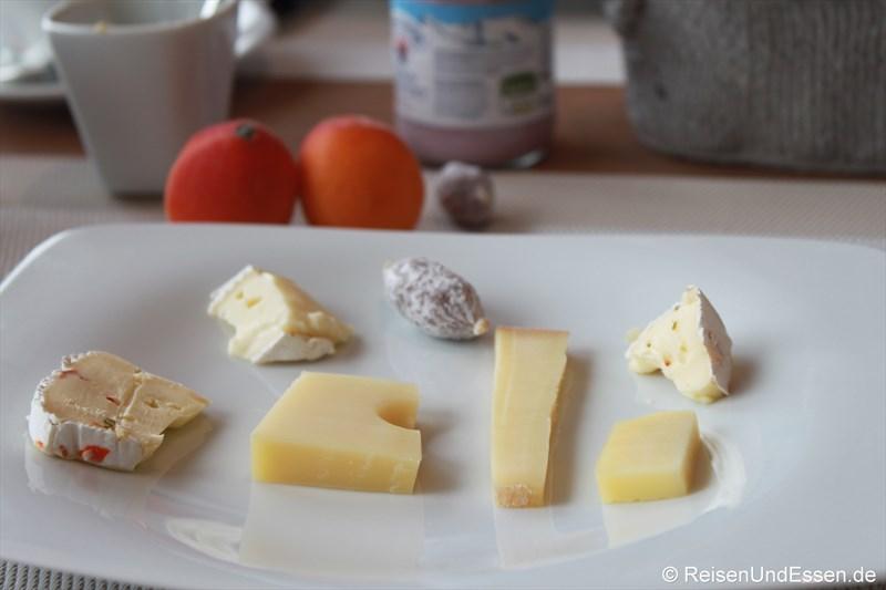 Unsere Käseauswahl beim Frühstück im 3'60° Restaurant