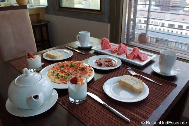 Frühstück in unserer Ferienwohnung in Kapstadt