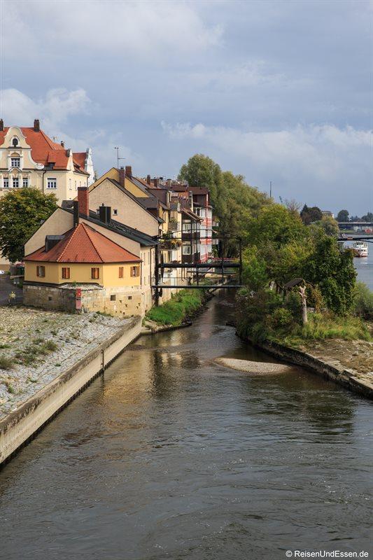 Blick auf die Donau-Insel von der steinernen Brücke