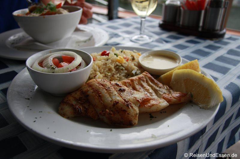 Tintenfischsteak in der Waterfront von Knysna