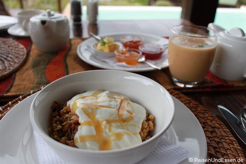Müsli beim Frühstück in der Elephant Hide of Knysna Guest Lodge