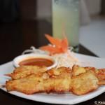 Satay-Spieß im Thai-Restaurant in Kapstadt