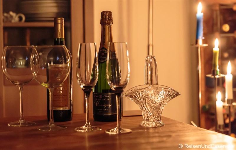 Rotwein und Champagner zum Silvesteressen 2014