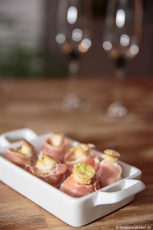 Zubereitung Champignons mit Bacon