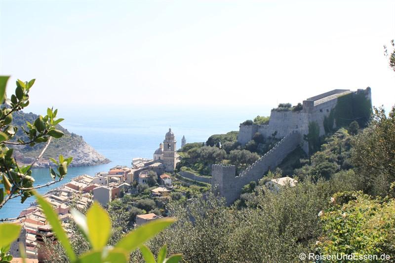Blick auf das Castell in Portovenere