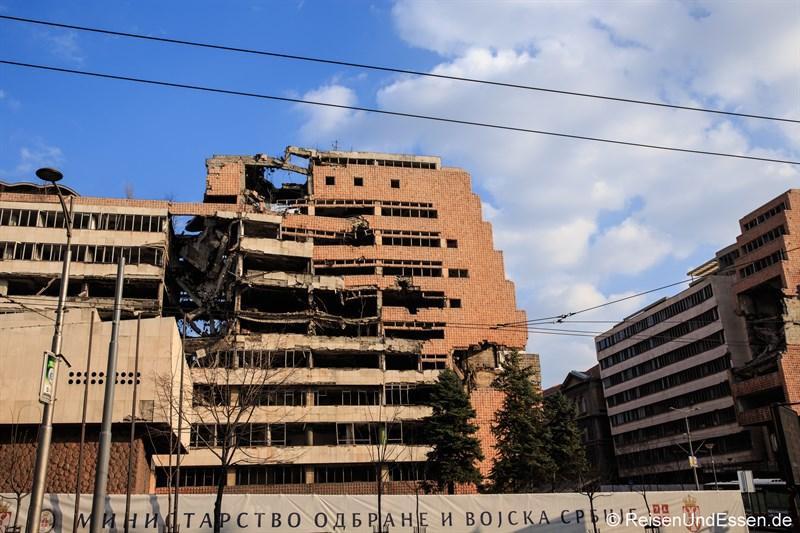 Von Bomben getroffenes Verteidigungsministerium