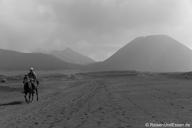 Reiter in der Sea of Sands am Vulkan Bromo