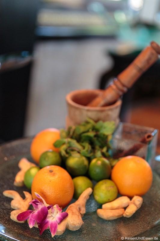 Frische Zitrusfrüchte in der Club InterContinental Lounge