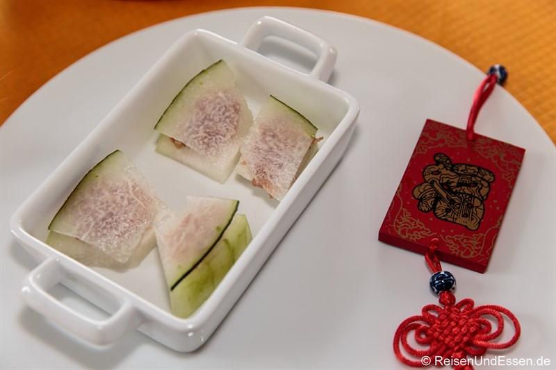 Wintermelone mit italienischen Schinken