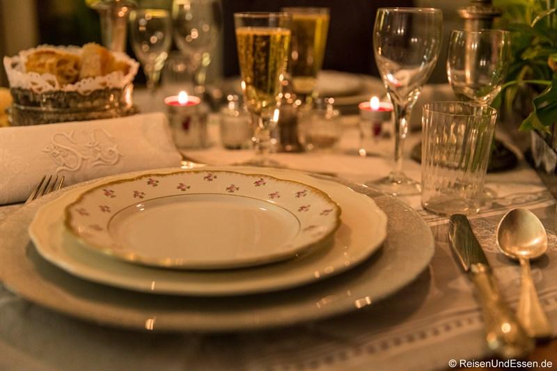 Kulinarische Hochgenüsse im Schloss beim Diner im Chateau de la Pressle