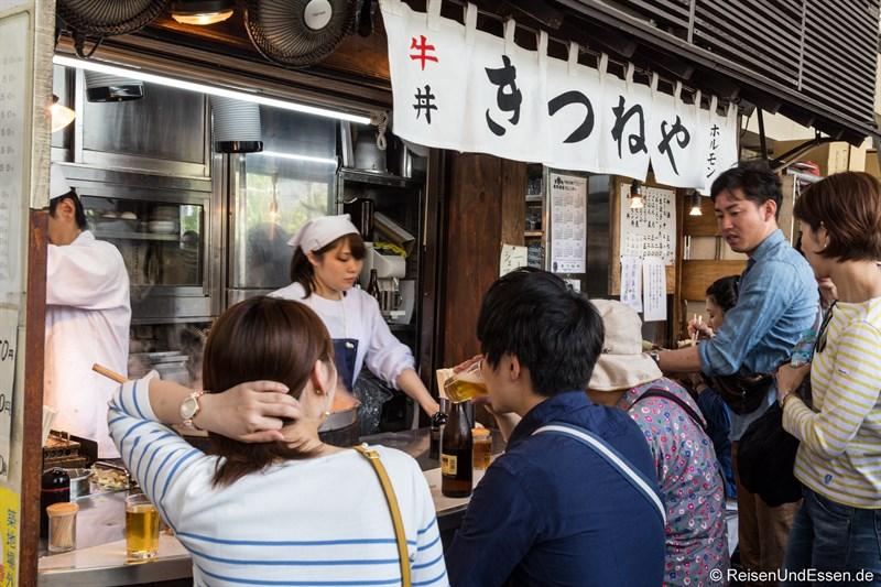 Imbiss beim Tsukiji Tokio Fischmarkt