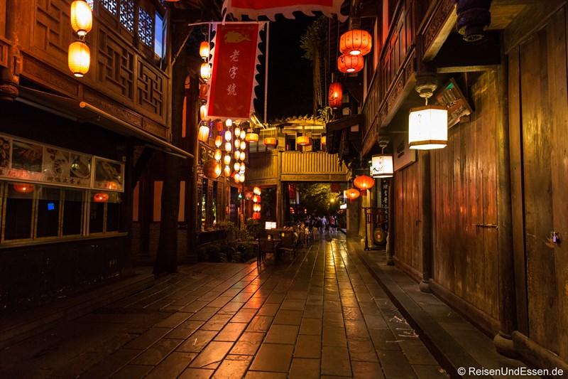 Jinli Strasse in Chengdu bei Nacht