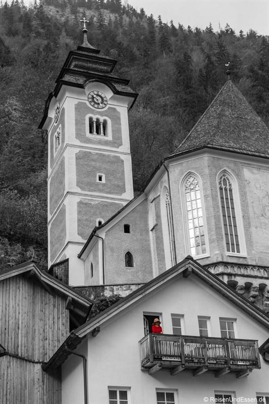 Blick auf Heritage Hotel Hallstatt und Kirche