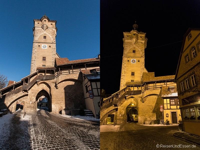 Klingentor in Rothenburg ob der Tauber bei Tag und Nacht