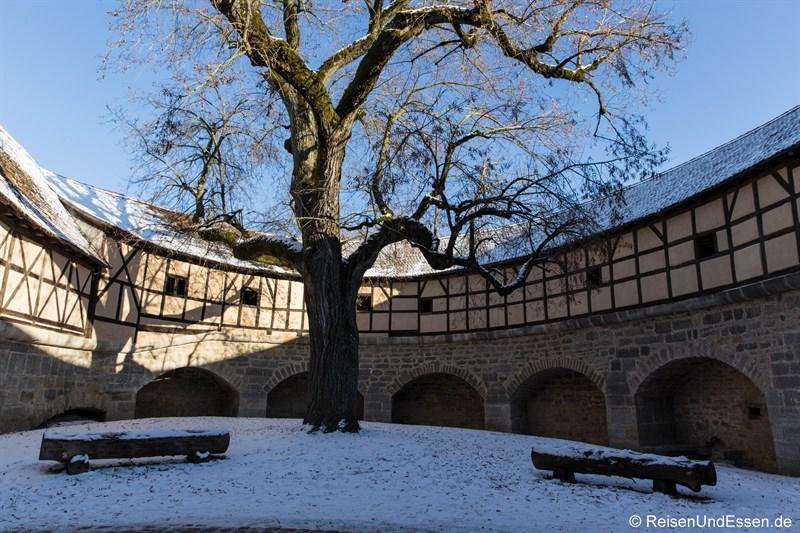 Im Innern der Spitalbastei in Rothenburg ob der Tauber