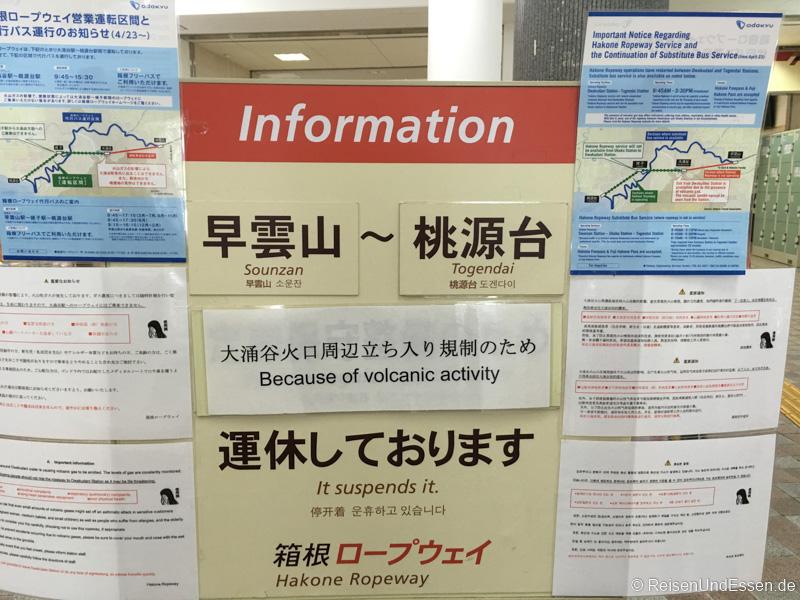 Erlebnis Fuji - Hinweis auf Vulkantätigkeiten
