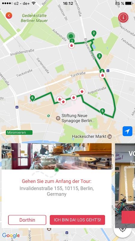 Startbildschirm Bitemojo für Kulinarische Tour Berlin Mitte