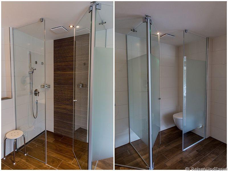 Dusche und WC in der Junior Suite im Hotel Dirsch