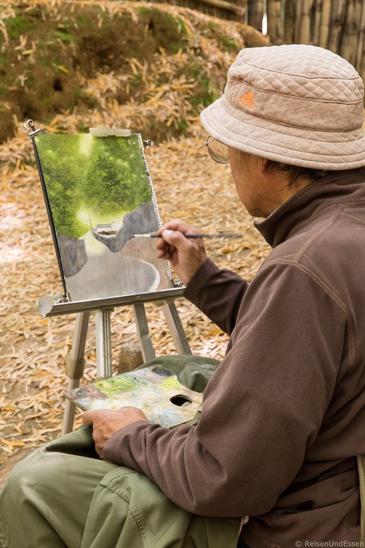 Maler im Bambuswald von Tenryu-ji