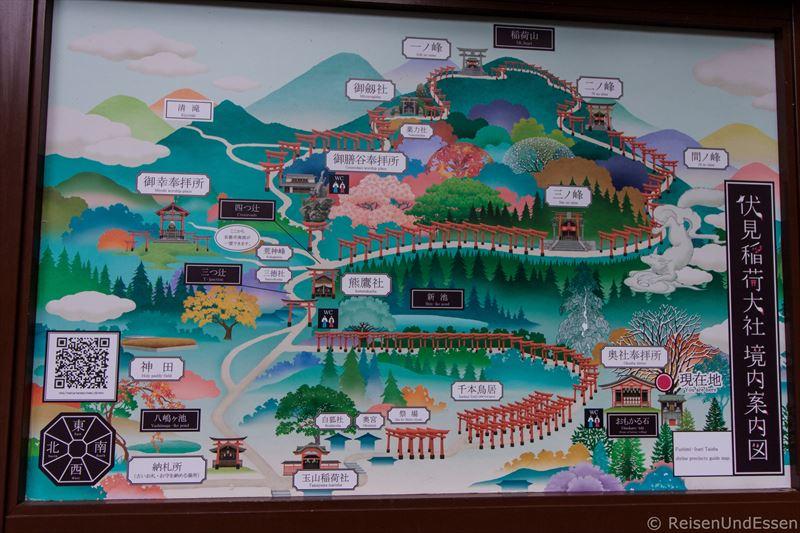 Plan von Fushimi Inari und den Wegen - Menschenleeres Fushimi Inari