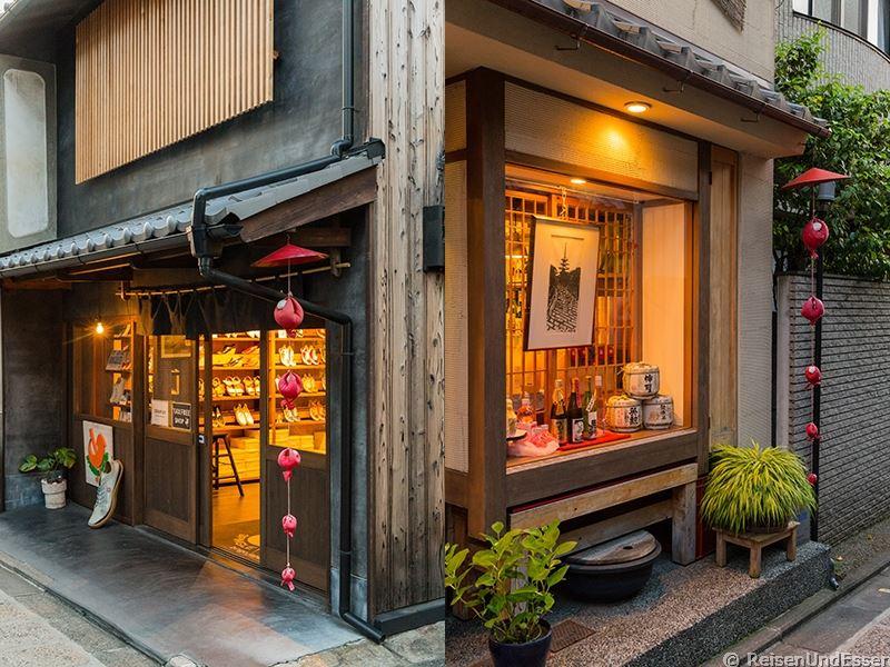 Läden in den Gassen bei der Tour durch Higashiyama in Kyoto