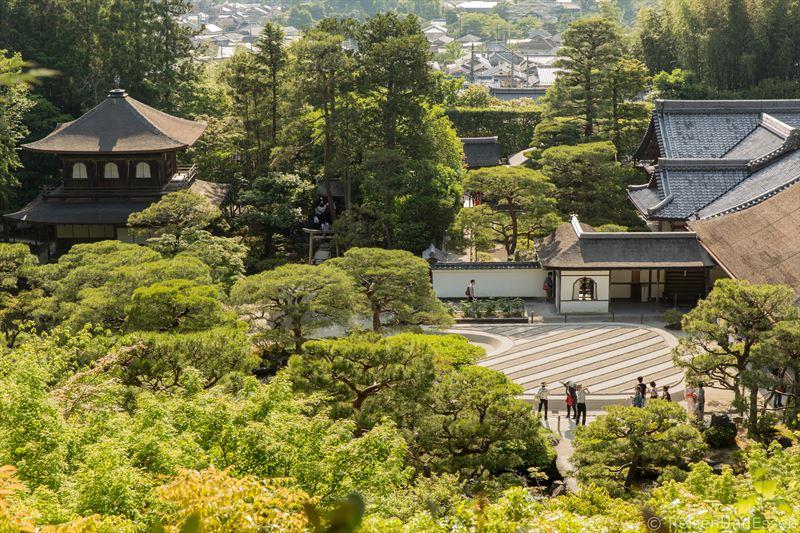 Blick auf die Tempelanlage von Ginkaku-ji