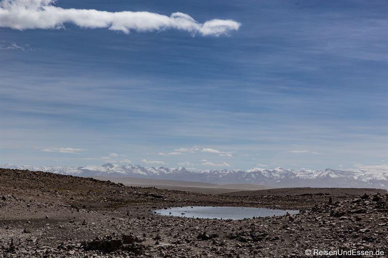 Blick auf die Vulkane vom Mirador de los Andes