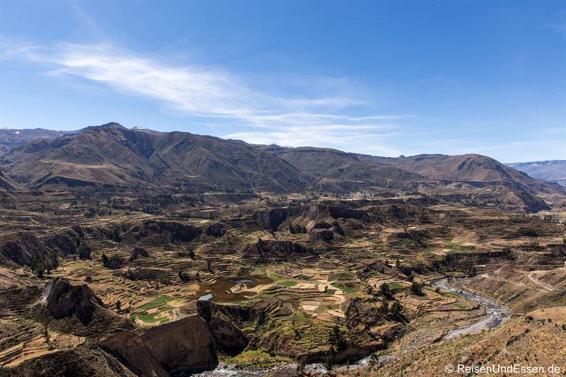 Blick in den Colca Canyon und Inkaterrassen