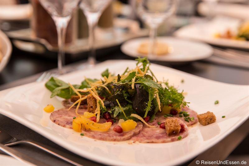 Carpaccio vom Schwartenmagen beim Burgunder Kulinarium