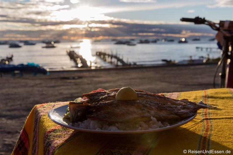 Forelle zum Abendessen in Copacabana