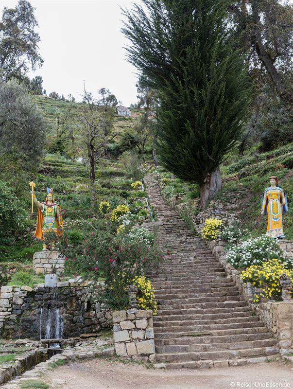 Inka-Treppe auf der Isla del Sol bei Yumani