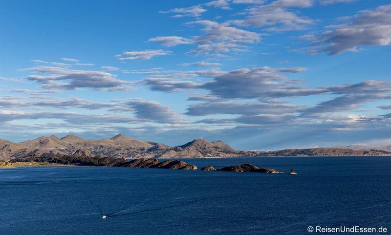 Blick von der Isla del Sol in Richtung Copacabana