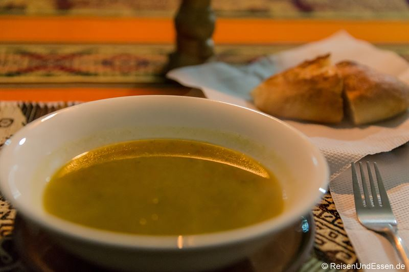Maissuppe zum Abendessen in der Puma Punku Ecolodge