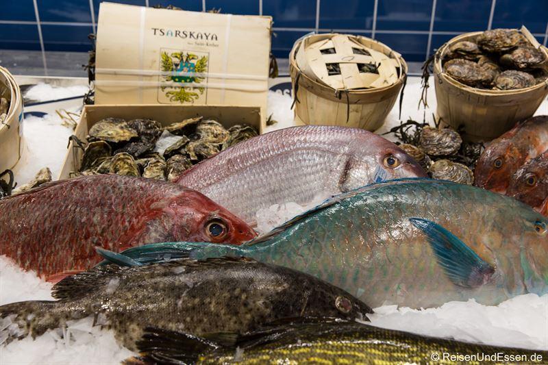 Austern und Fisch in der Theke im Frischeparadies