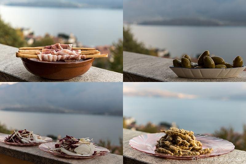 Auswahl an Vorspeisen zum Abendessen in der Ferienwohnung