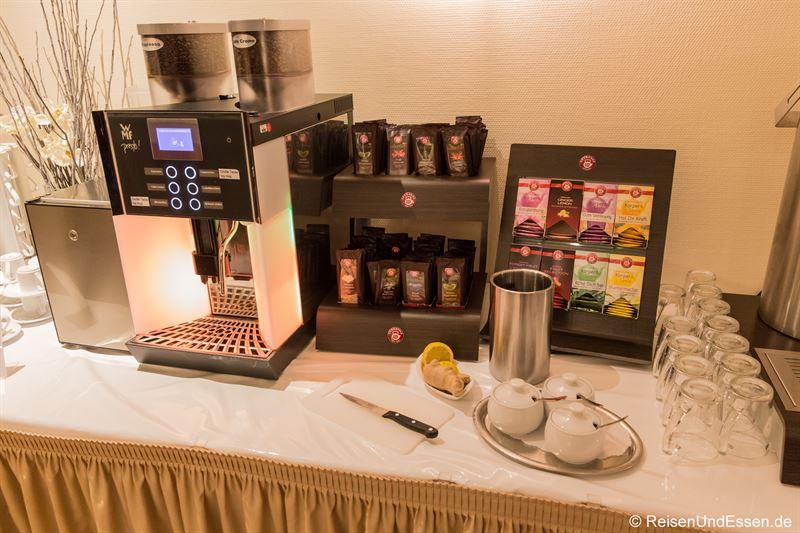 Auswahl an Kaffee und Tee zum Frühstück im Mercure Hotel