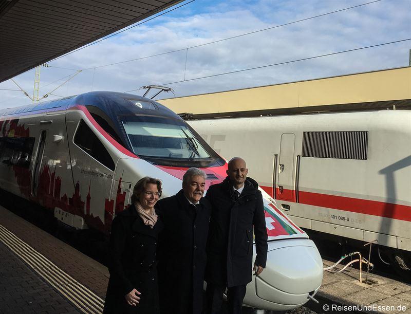 Vorstände von DB, SBB und Trenitalia in Basel Badischer Bahnhof