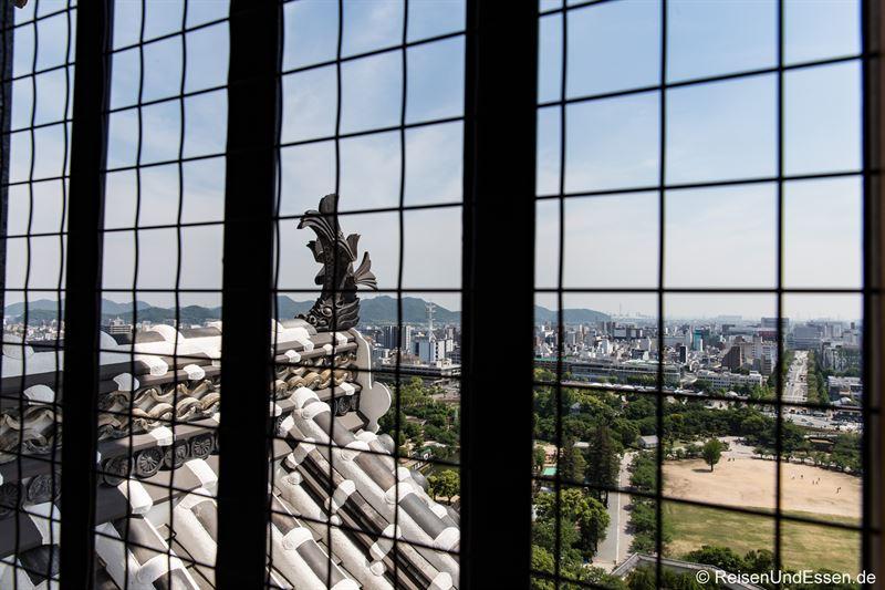 Blick von der Burg auf Himeji