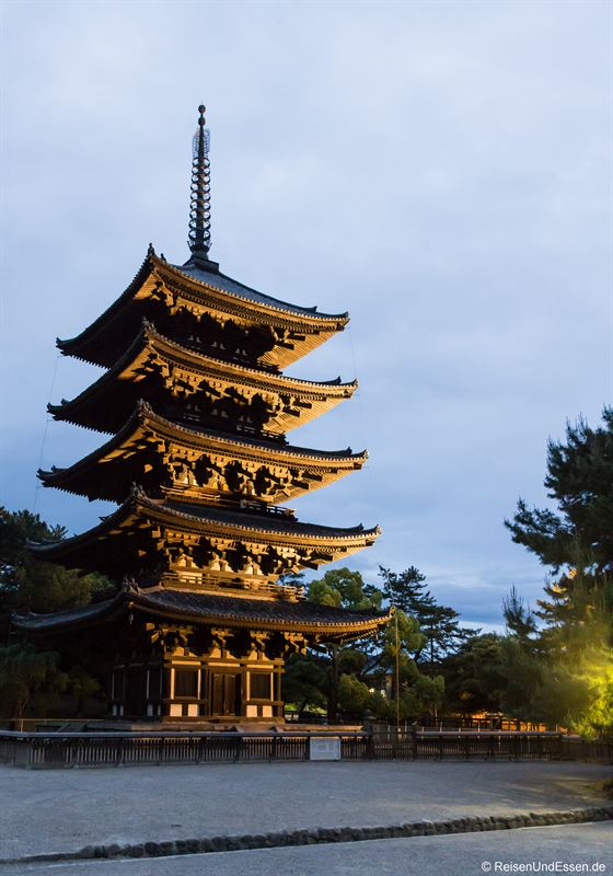 Tempel Kofuku-ji in Nara bei Nacht