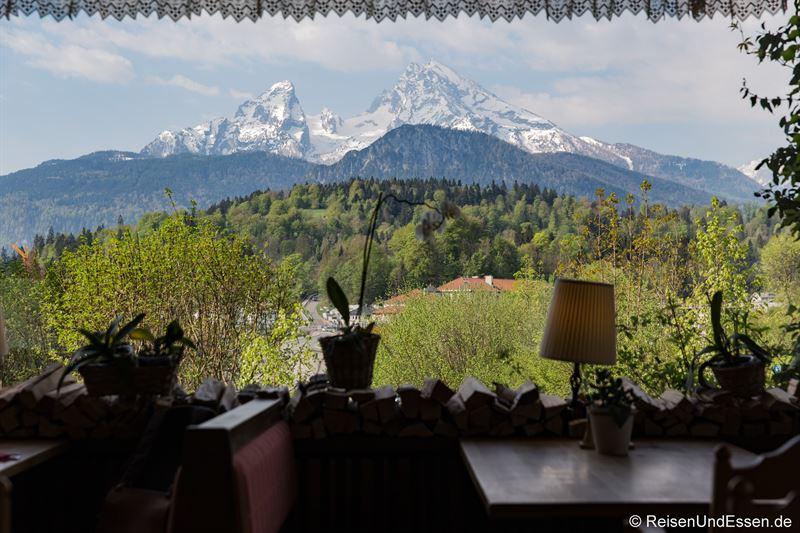 Blick vom Restaurant auf Watzmann